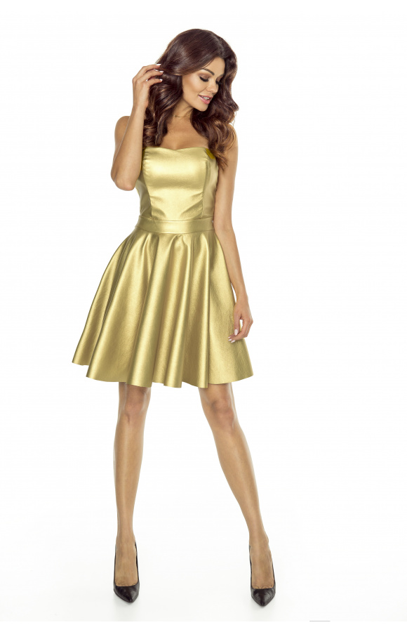 Imponująca, złota sukienka gorsetowa o długości mini. Idealna na wieczorne imprezy!