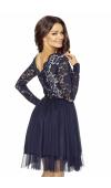 Fantastyczna sukienka wieczorowa midi z koronkową górą i tiulową spódnicą. Świetna na imprezy.
