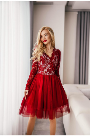 Sukienka wieczorowa z tiulu i koronki km242-4
