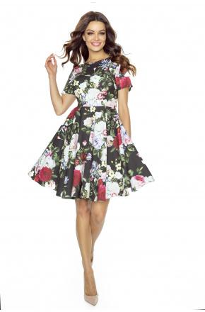 Rozkloszowana sukienka w kwiaty KM243