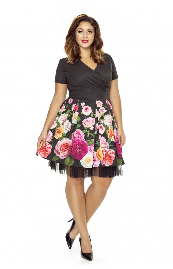 03c937147c Rozkloszowana wizytowa sukienka w kwiaty km223ps - ❤ Kartes-Moda ❤