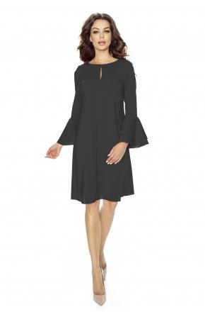 Koktajlowa sukienka z kloszowanym rękawem KM246