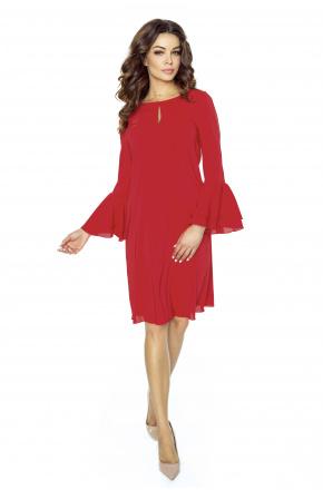 Koktajlowa sukienka z kloszowanym rękawem KM246-1